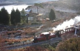 Steam train at back