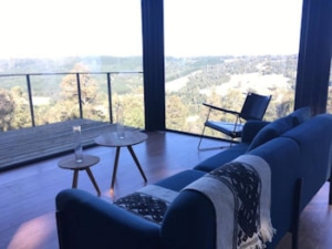 Recycled shipping container cabin view
